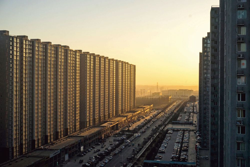 Dawn over densely-built residential towers in Yanjiao, China, a suburb of Beijing.